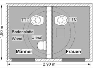 Öffentliche Toilettenanlage mit GOLDGRUBE - 1 Toilettenraum für Frauen und 1 Toilettenraum für Männer mit Urinal