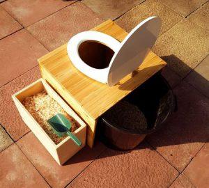 Trockentoilette 'Die große Kleine' mit 80L-Behälter und optionalem Einstreubehälter - Ansicht von oben, Deckel offen