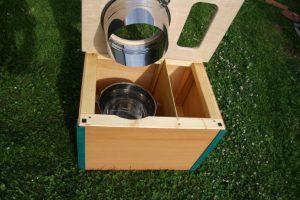 Die Bunte, blaugrün- Komposttoilette für Zuhause - offen