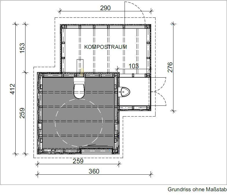 Toilettenanlage KUBUS mit Ecodomeo - Grundriss