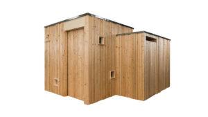 Trockentoilette KUBUS - öffentliche Toilette aus Lärchenholz mit Toilettensystem ECODOMEO - Ansicht front mit getrenntem Pissoir