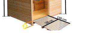 Höhe Innenboden - Toilettenkabine Wald-barrierefrei: der Boden der Kabine (innen) ist auf eine Höhe von 14 cm.