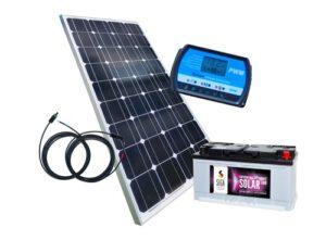 Inselanlage 100 Watt, 12 Volt Set mit Batterie für Barrierefreie Toilette XXL mit Ecodomeo