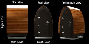 Trockentoilette KL1 Holz. Technische Zeichnung.
