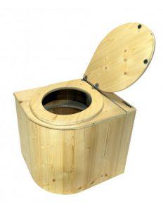 Kompost-Toilette Die Libelle aus Fichte lackiert - Deckel öffnet nach rechts