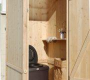 Komposttoilette WIESE mit Biolan aus Lärche unbehandelt - Innenansicht