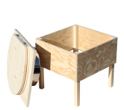 Toilette aus Holz 'Der Käfer'- unbehandelt - Abweisblech aus Edelstahl
