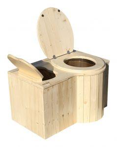"""Komposttoilette """"Der Schmetterling"""" · aus Fichte, lackiert · Sitz rechts. Foto: Toilette und Einstreubehälter offen"""