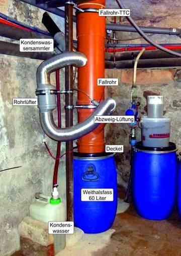 Sammelbehälter 60 L für Trocken-Trenntoilette im Keller