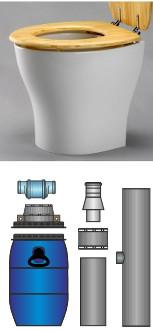 Trenn-Toilettensitz mit Bausatz und 60 L-Weithalsfass