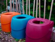 Toilettensitz für ECODOMEO-Trenntoilette. Tentale farbig: orange blau lila