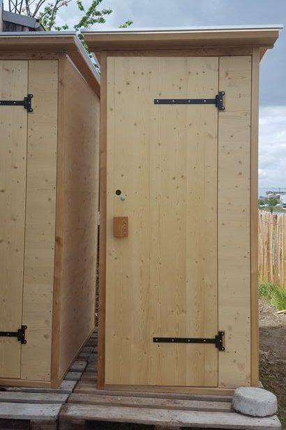 Komposttoilette Modell 'Wald' aus Fichte, unbehandelt. Einstreu-Toilette 80 L