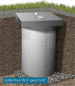 Goldgrube: Zysterne aus Beton mit integrierter Trennung Feststoff / Flüssigstoffe