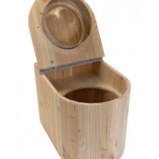 Komposttoilette aus HOLZ - Modell Marienkäfer aus Douglasie - offen zur Entnahme des Eimers - Innentoilette für zuhause
