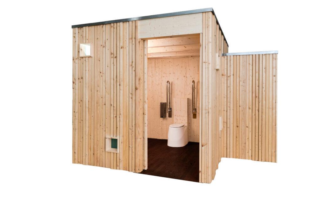 Trockentoilette KUBUS - öffentliche Toilette aus Lärchenholz mit Toilettensystem ECODOMEO - Innenraum und Schiebetür
