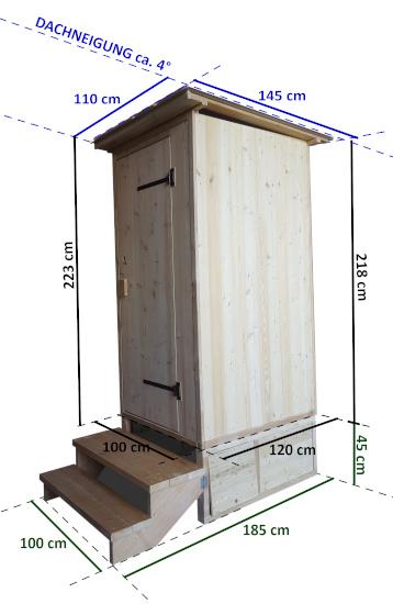 Toilettehäuschen WALD-mit-Biolan Ausschnitt mit Maßangabe