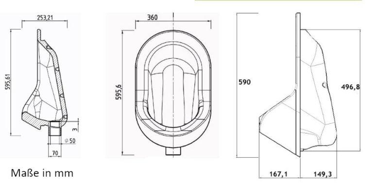 Wasserloses Urinal aus PE - technische Zeichnung mit Maße