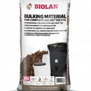 Biolan-Einstreu für Biolan-Toiletten 35Liter. Torffreie Mischung aus Kiefernrinde, Moos und Biokohle für Komposte und Trockentoiletten.