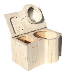 """Komposttoilette """"Der Schmetterling"""" · aus Fichte, unbehandelt · Sitz rechts · Foto: offen"""