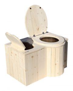 """Komposttoilette """"Der Schmetterling"""" · aus Fichte, unbehandelt · Sitz rechts · Foto: Einstreubehälter und Toilette offen"""