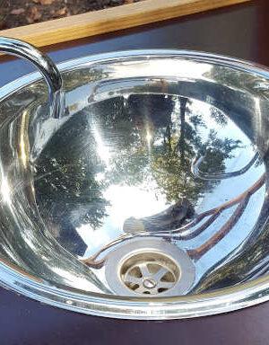 nowato Rundspüle aus Edelstahl hochglanzpoliert Ø 300 x 140 mm - Handwaschbecken Zubehör