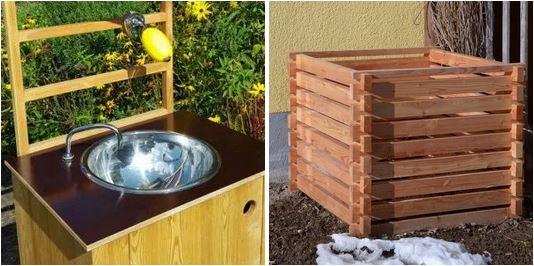 nowato Handwaschbecken und großes Komposter aus Lärche