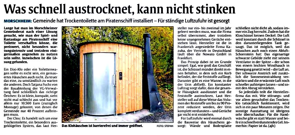 Artikel über nowato in der Rheinpfalz