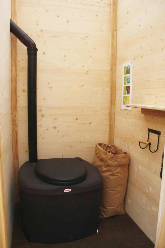 nowato Komposttoilette Modell Wald aus Fichte. Innenansicht. Komposttoilette mit Toilettensystem Biolan eco