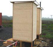 nowato Komposttoilette Modell Wald aus Fichte. Wartungsklappe und Sickerwasserkanister